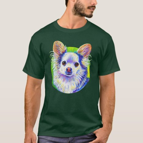 Cute Colorful Longhaired White Chihuahua T-Shirt