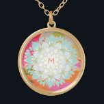 """Cute Colorful Lotus Flower Monogram Gold Finish Necklace<br><div class=""""desc"""">Beautifully hand drawn illustration  of blue lotus surrounded by a soft rainbow of colors. Easily personalize with your initial - even choose your desired color of font.</div>"""