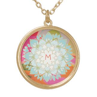 Cute Colorful Lotus Flower Monogram Round Pendant Necklace