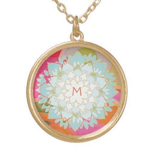 Cute Colorful Lotus Flower Monogrammed Custom Necklace