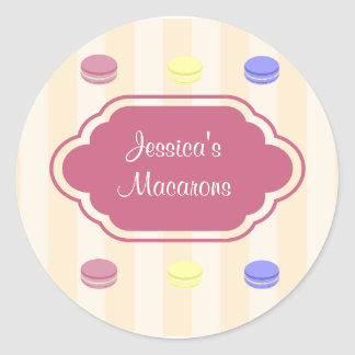 Cute Colorful Macarons Bakery Product Label Classic Round Sticker