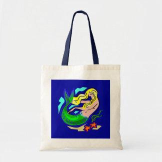 Cute Colorful Mermaid Dreams on Blue Budget Tote Bag
