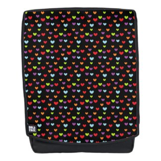 Colorful Mini Hearts Pattern Black Backpack