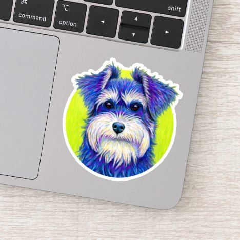 Cute Colorful Miniature Schnauzer Vinyl Sticker