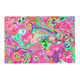 Cute colorful mixed abstract monsters placemat