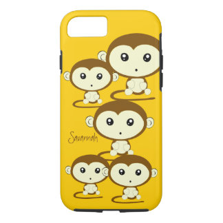 Cute Colorful Monkeys Change Yellow to any Color iPhone 8/7 Case