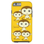 Cute Colorful Monkeys Change Yellow to any Color Tough iPhone 6 Case