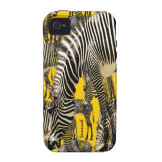 Cute Colorful Mustard Yellow Herd of Zebras Vibe iPhone 4 Case
