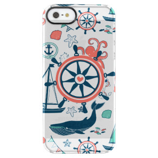 Cute Colorful Nautical Boat Wheel Pattern Uncommon Clearly™ Deflector iPhone 5 Case
