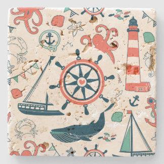 Cute Colorful Nautical Pattern Stone Coaster
