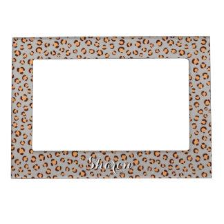 Cute colorful orange brown cheetah print monogram magnetic frames