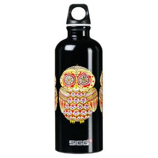 Cute Colorful Owl Aluminum Water Bottle