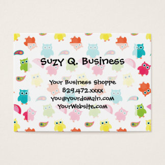 Cute Colorful Owl and Paisley Pattern Design Business Card