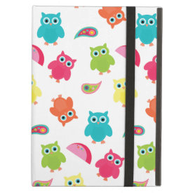 Cute Colorful Owl and Paisley Pattern Design iPad Cases