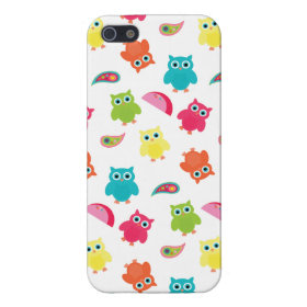 Cute Colorful Owl and Paisley Pattern Design iPhone 5 Cases