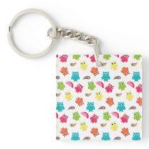 Cute Colorful Owl and Paisley Pattern Design Keychain