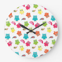 Cute Colorful Owl and Paisley Pattern Design Large Clock