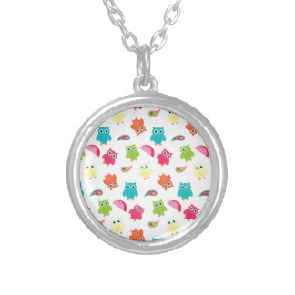 Cute Colorful Owl and Paisley Pattern Design Personalized Necklace