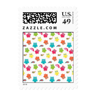 Cute Colorful Owl and Paisley Pattern Design Postage