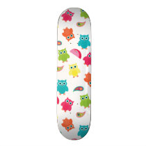Cute Colorful Owl and Paisley Pattern Design Skateboard