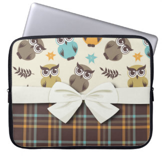 cute colorful owl and plaid laptop sleeve