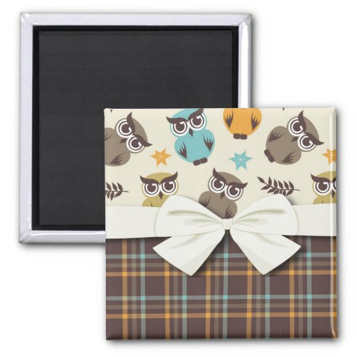 cute colorful owl and plaid refrigerator magnets