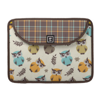 cute colorful owl and plaid sleeve for MacBook pro