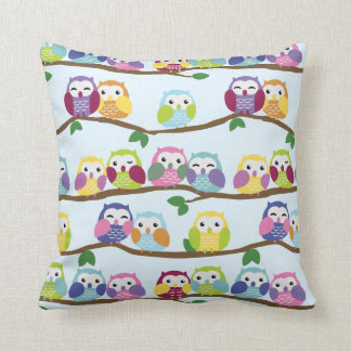 Cute Colorful Owl Branch Pattern Throw Pillow