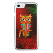 Cute colorful  owl carved iPhone 7 case