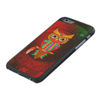 Cute colorful  owl carved maple iPhone 6 slim case