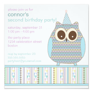 Cute Colorful Owl Child Birthday Party Invitation