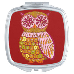 Cute Colorful Owl Compact Mirror - Retro Owl Art!