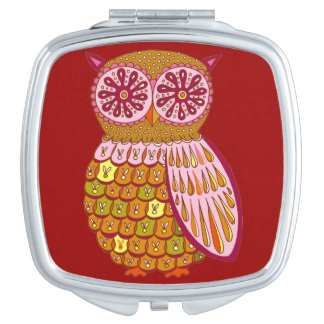 Cute Colorful Owl Compact Mirror - Retro Owl Art!