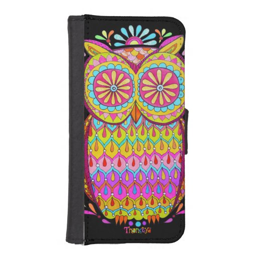 Cute Colorful Owl iPhone 5/5S Wallet Case Phone Wallets