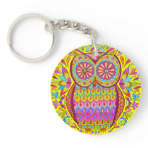 Cute Colorful Owl Keychain - Groovy Retro Owl Art!