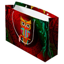 Cute colorful  owl large gift bag