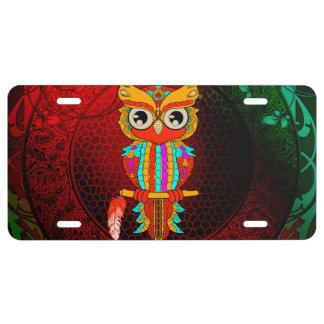 Cute colorful  owl license plate