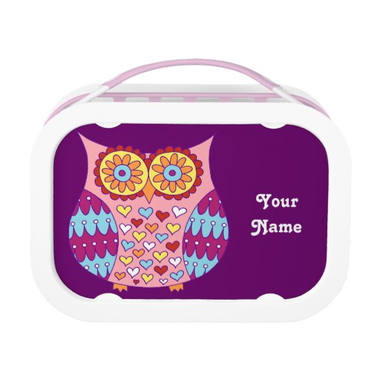 Cute Colorful Owl Lunchbox - Pink & Purple