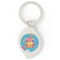 Cute Colorful Owl Metal Keychain - Groovy Owl Art!
