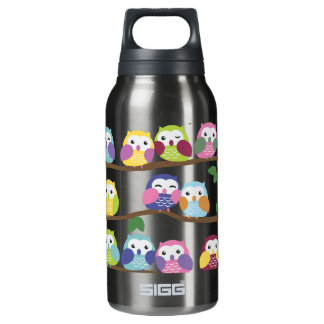 Cute Colorful Owl on Branch Insulated Water Bottle