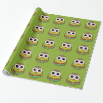 Cute Colorful Owl on Green Gift Wrap