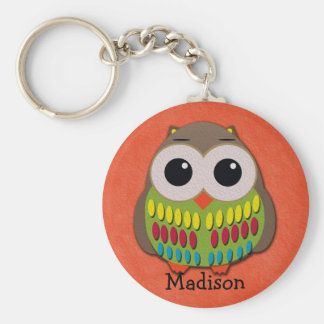 Cute Colorful Owl on Orange Keychain