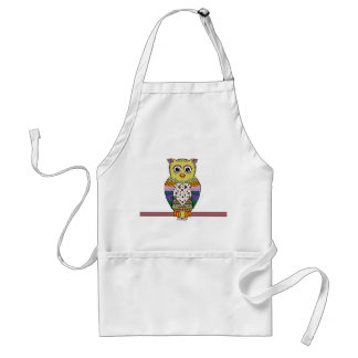 Cute Colorful Owl on star lit night Adult Apron