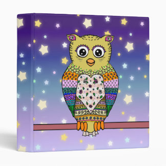 Cute Colorful Owl on star lit night Binder