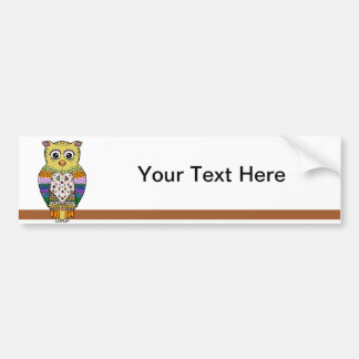 Cute Colorful Owl on star lit night Bumper Sticker