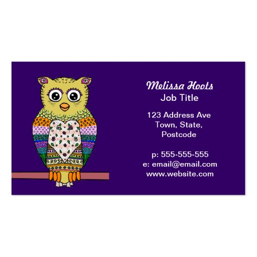 1000 colorful owl business cards and colorful owl for Owl business cards