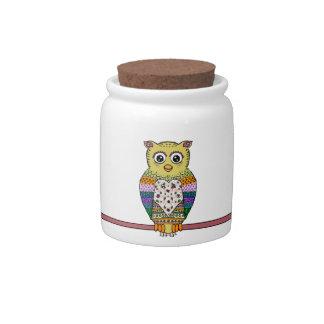 Cute Colorful Owl on star lit night Candy Jar