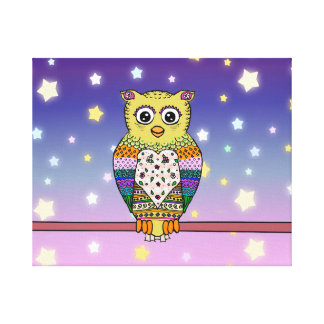 Cute Colorful Owl on star lit night Canvas Print