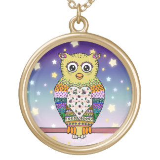 Cute Colorful Owl on star lit night Gold Plated Necklace
