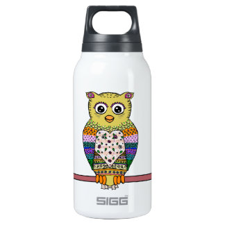 Cute Colorful Owl on star lit night Insulated Water Bottle
